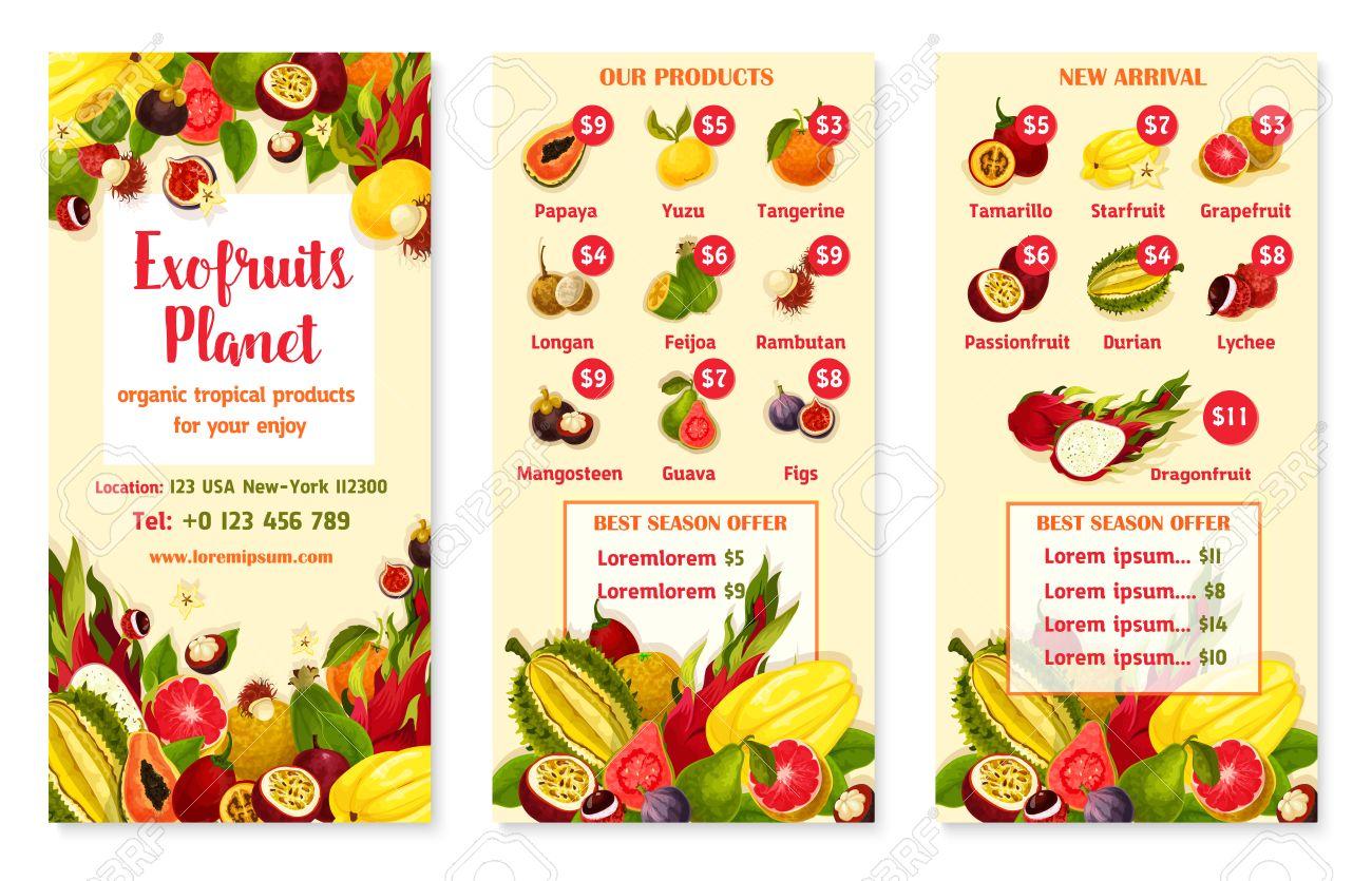 Exotische Tropische Früchte Preis Menü Vorlage Für Obst-Shop Oder ...