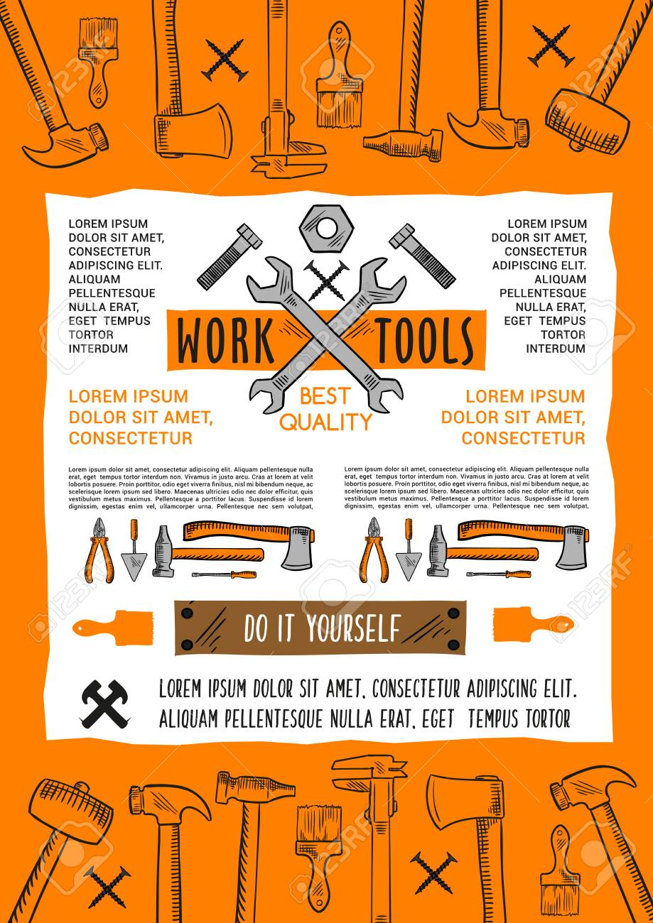 Work tools poster for or do it yourself or handy man carpentry vector work tools poster for or do it yourself or handy man carpentry construction or building vector toolbox of plaster trowel paint brush or hammer solutioingenieria Gallery