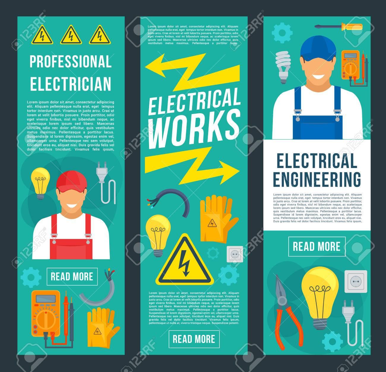 Elektriker, Elektrische Arbeiten Und Technikfahnen. Elektriker In ...