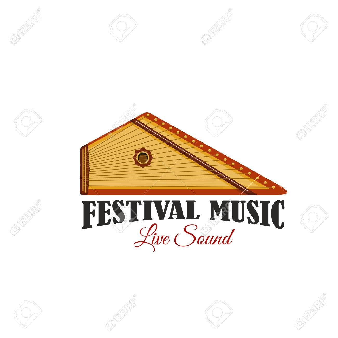 Music festival icon with folk musical instrument live music music festival icon with folk musical instrument live music concert isolated symbol of ethnic stringed buycottarizona Choice Image