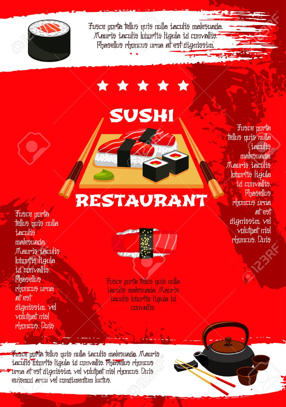 japanese sushi restaurant menu poster template vector design