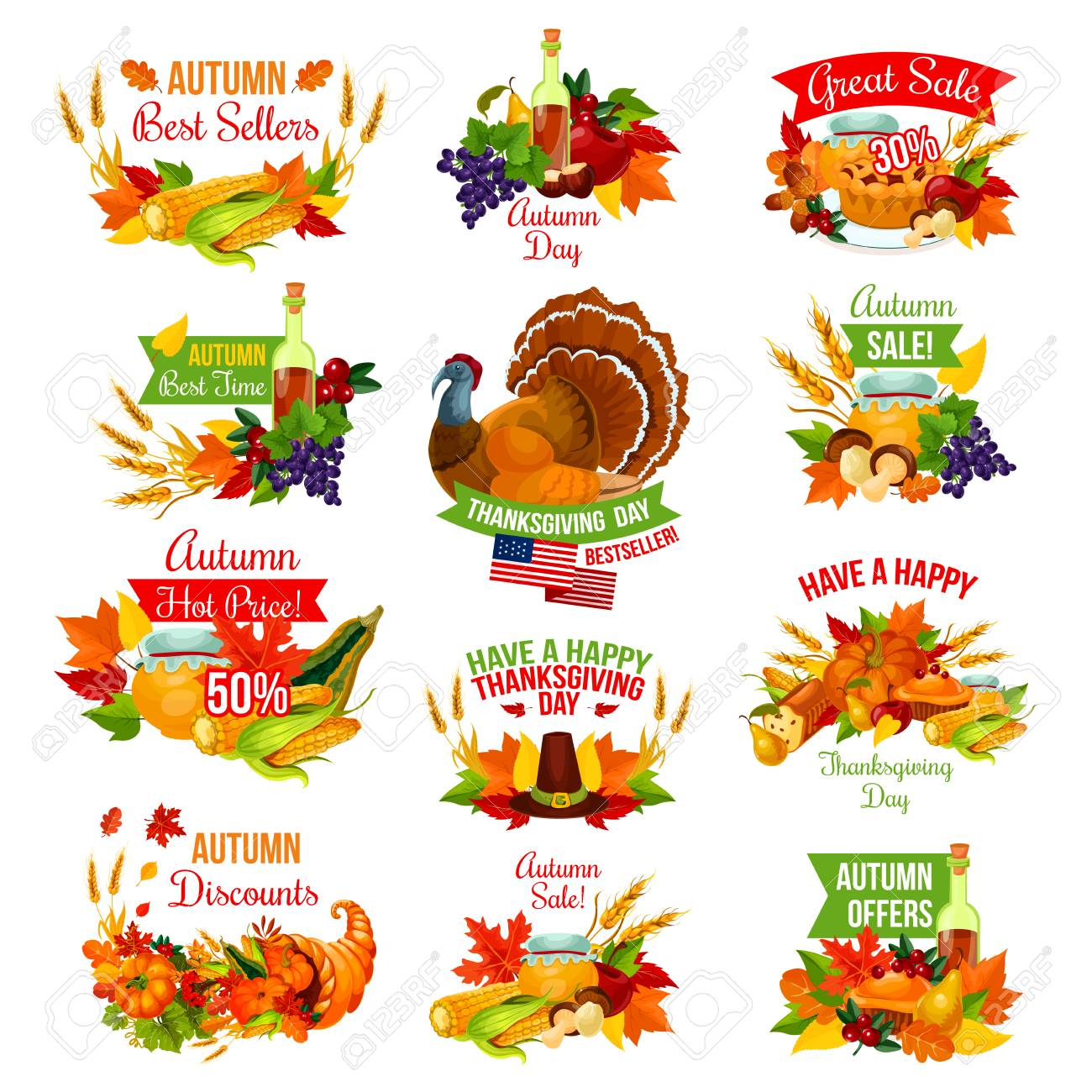 Thanksgiving Day Sale Icons For Autumn Seasonal Promo Discount Royalty Free Cliparts Vectors And Stock Illustration Image 86750011