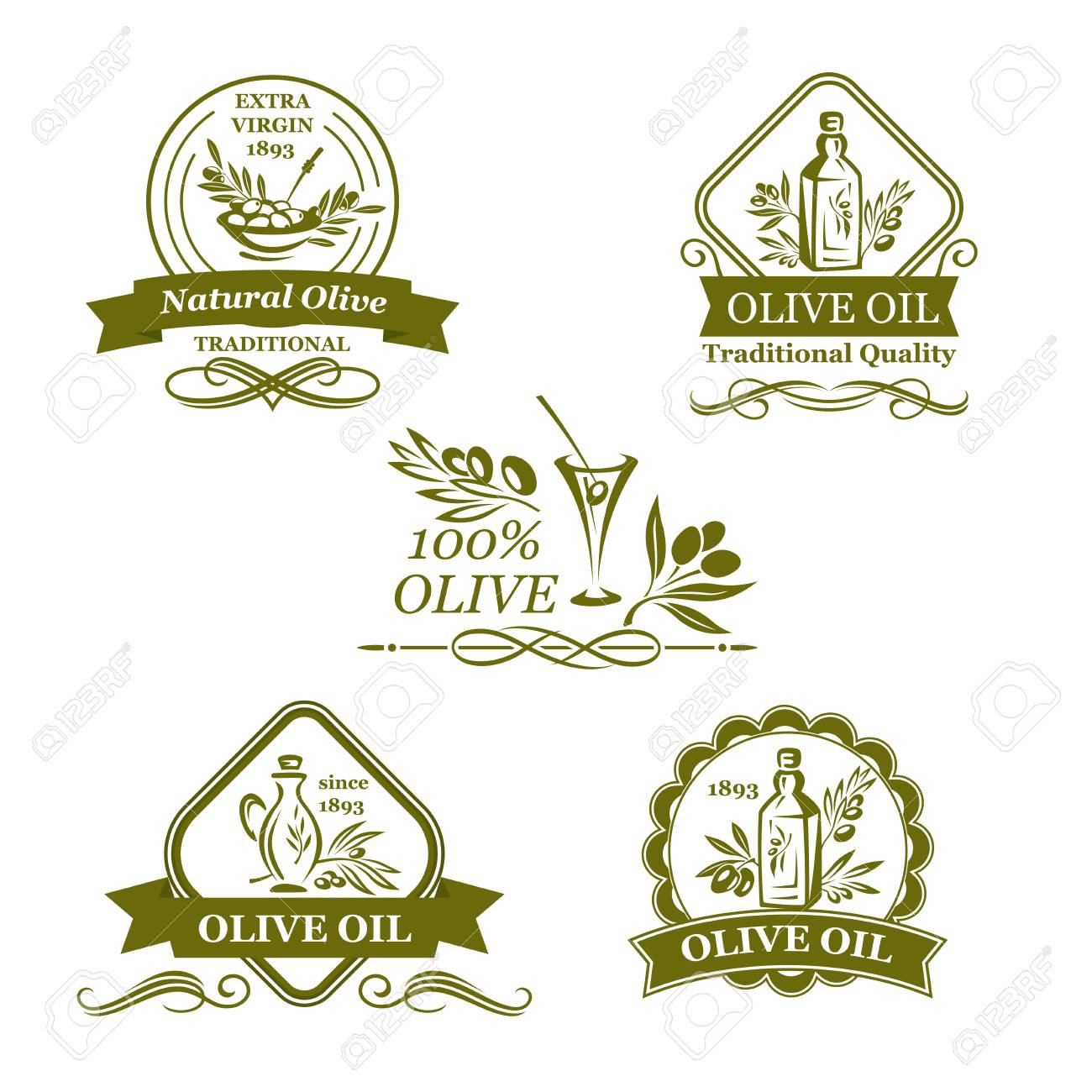 Olives Icons For Olive Oil Product Labels Or Italian Cuisine Design