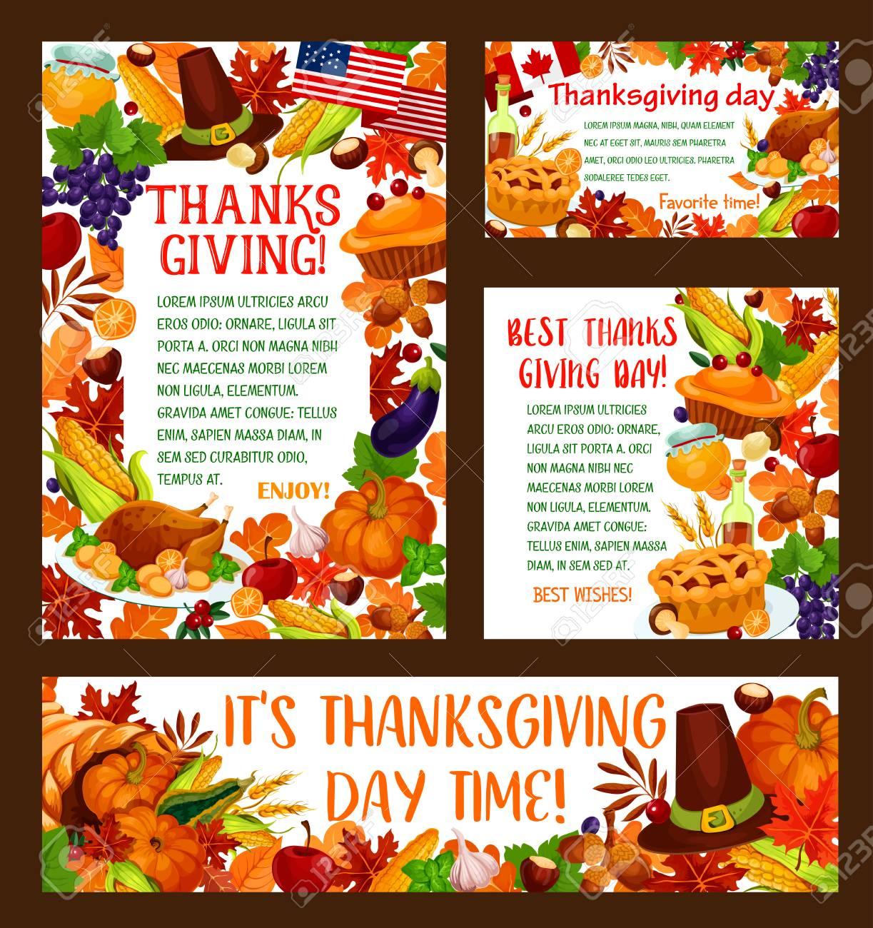 Conjunto De Banner De Saludo De Día De Acción De Gracias. Plantilla ...