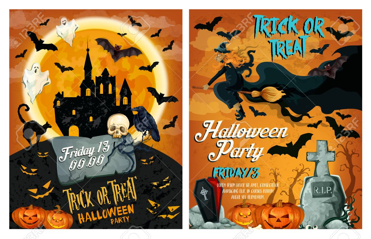Halloween Holiday Party Poster Or Invitation Card Template Vector