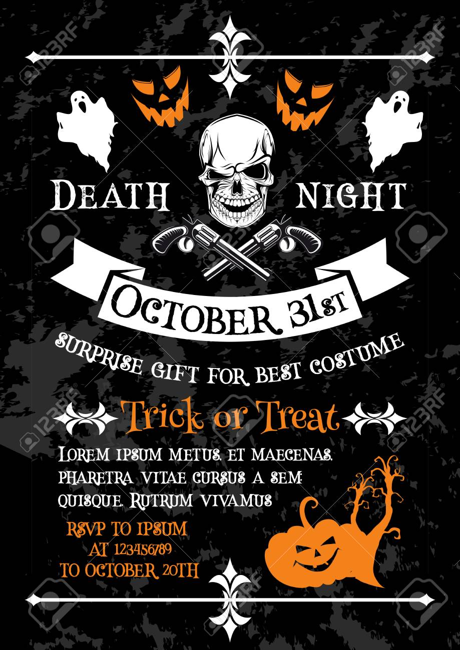 halloween holiday poster of horror death party invitation template