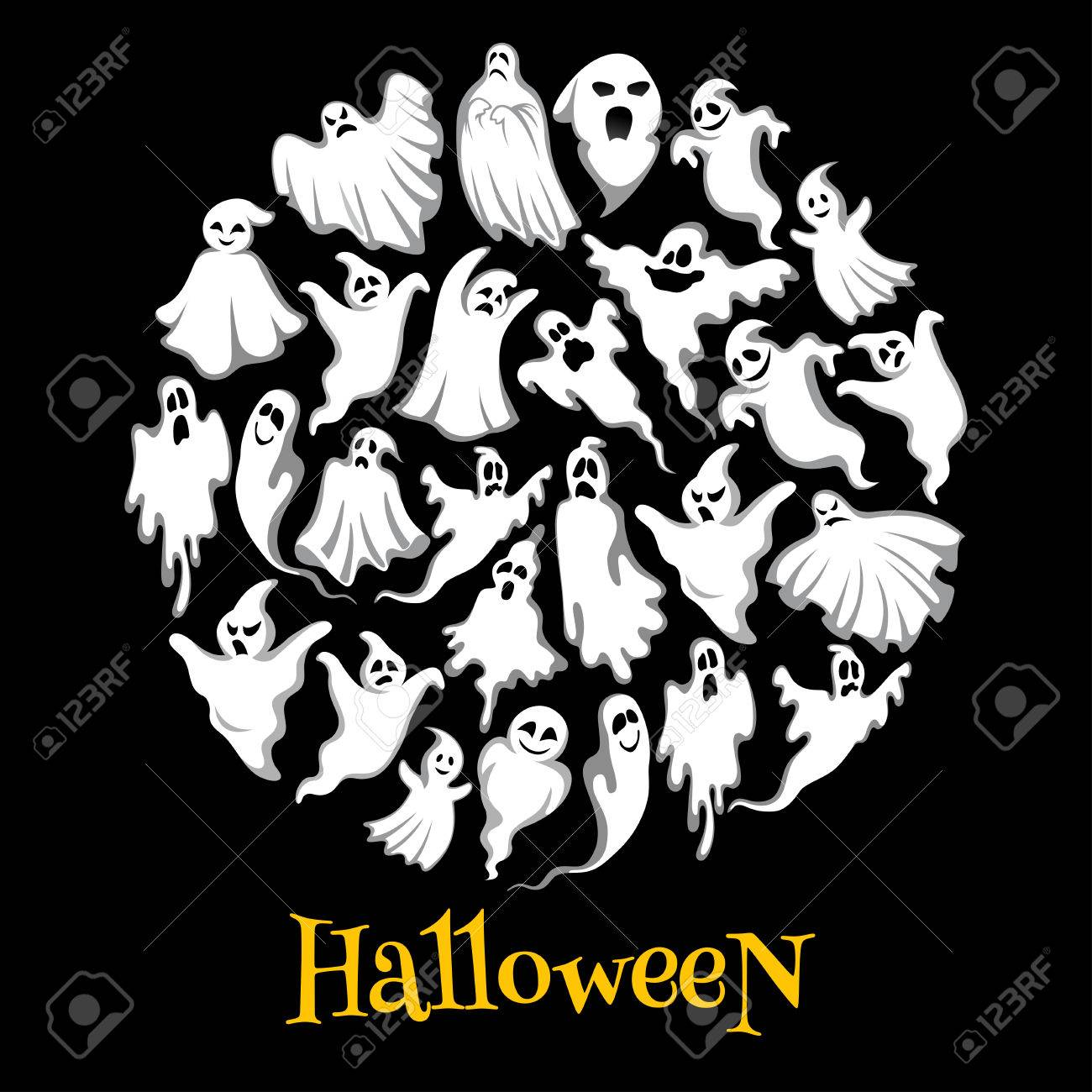 Halloween Ghost Or Holiday Spirit Round Poster. Scary Ghost, Spooky Night  Monster, Funny