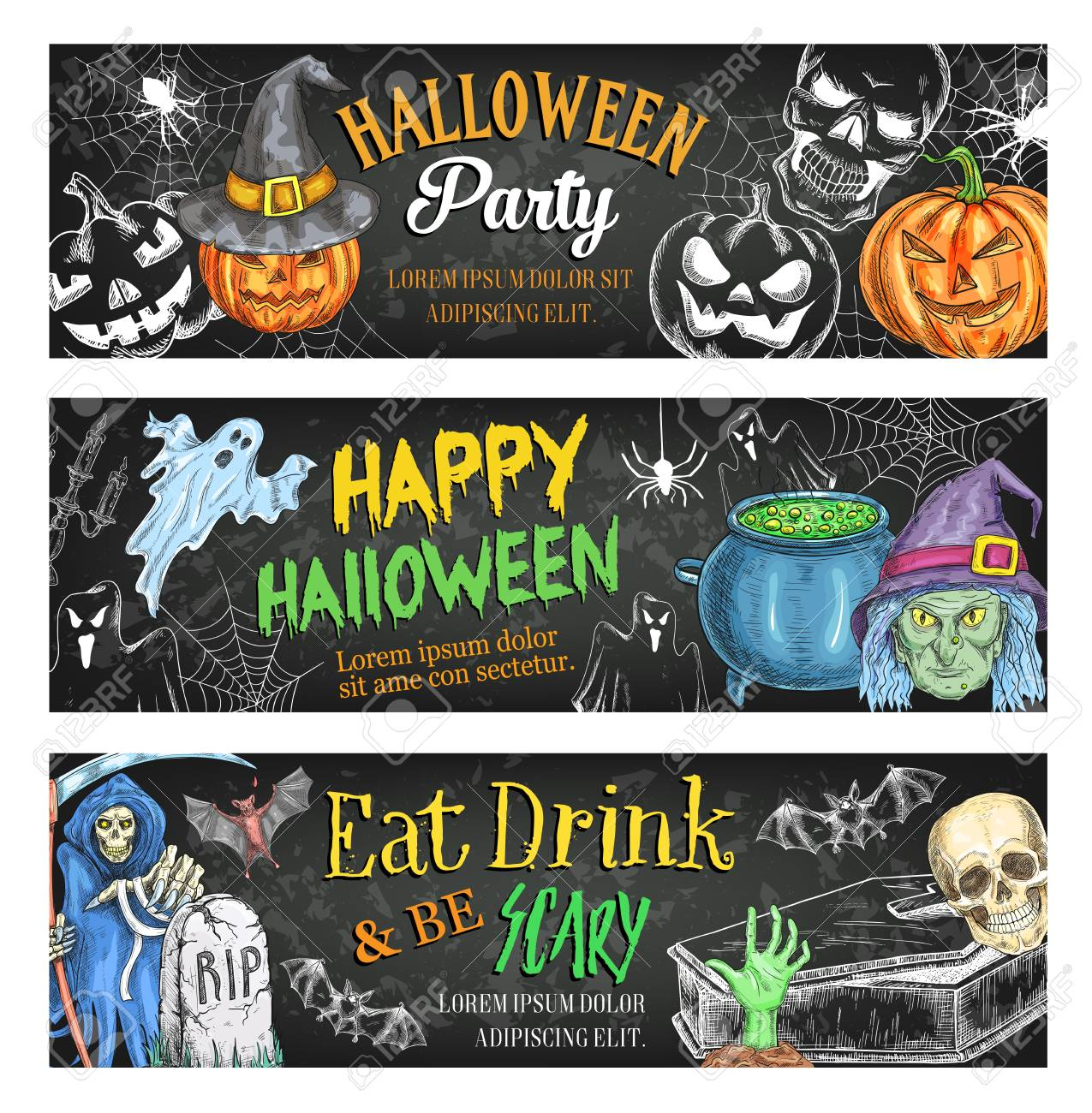 Halloween Holiday Horror Or Death Party Sketch Banners For Trick Treat Night Vector