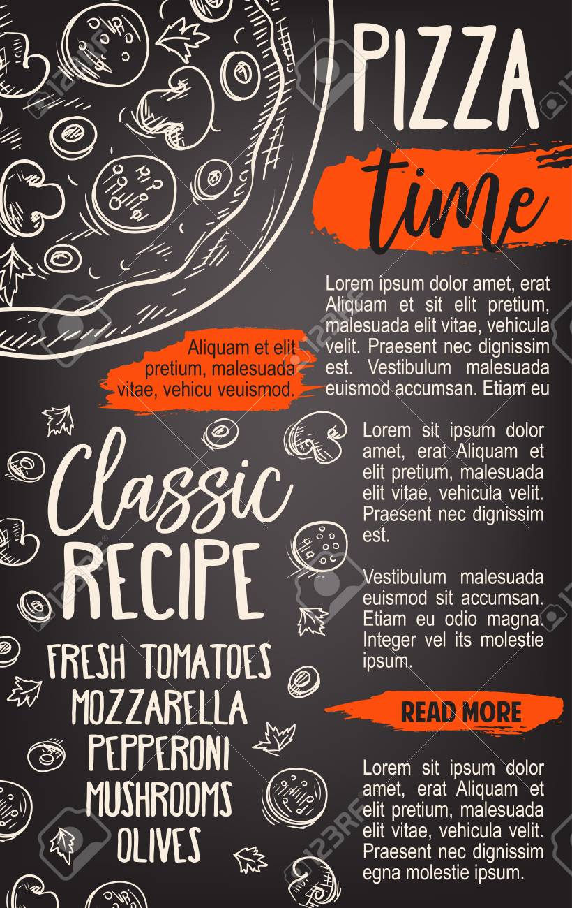 pizza fast food poster template for pizzeria or italian restaurant