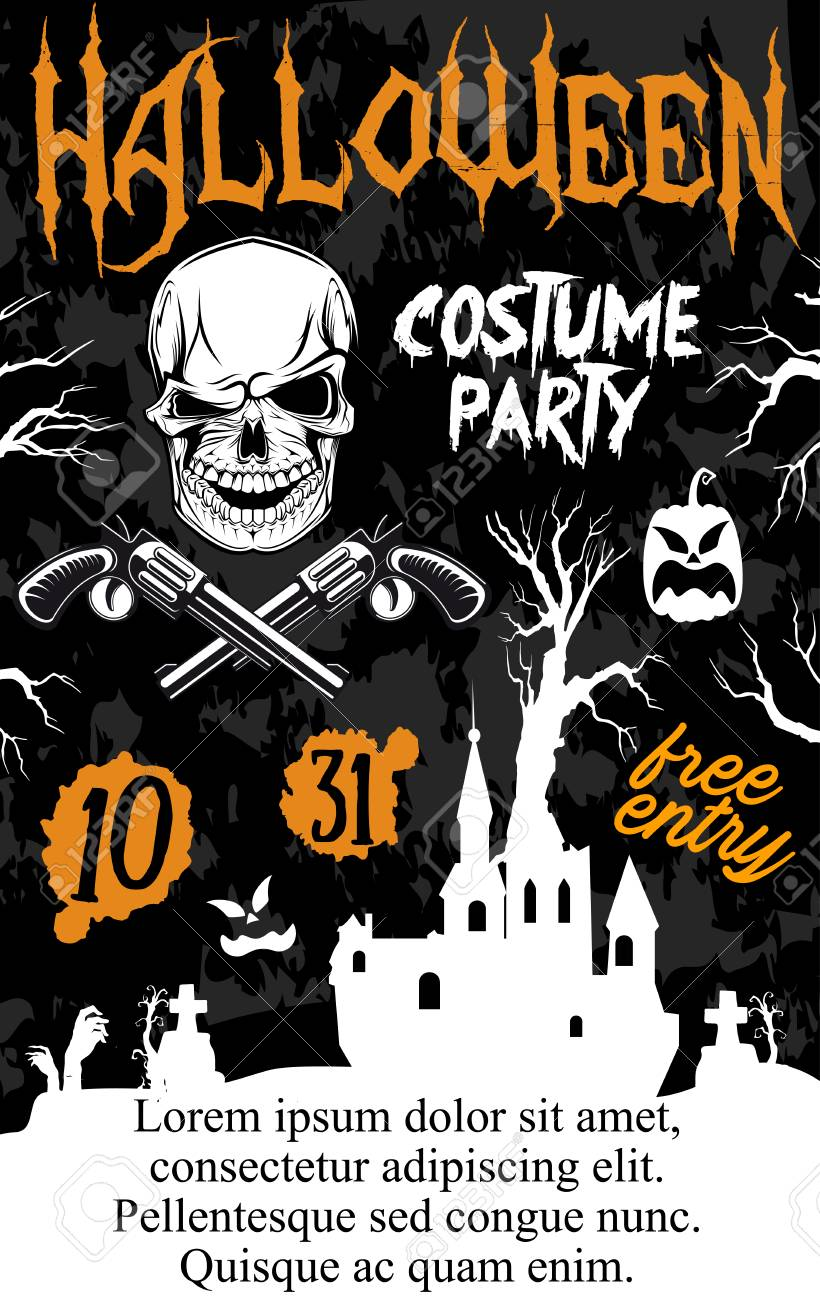 Halloween Holiday Zombie Party Poster. Ghost Haunted House And ...