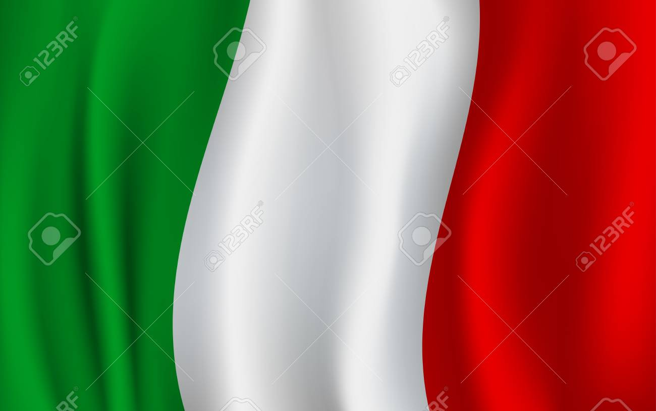 Italy flag 3D background of green, white and red vertical color stripes. Italian republic country official national flag waving with curved fabric or waves vector texture - 87063519