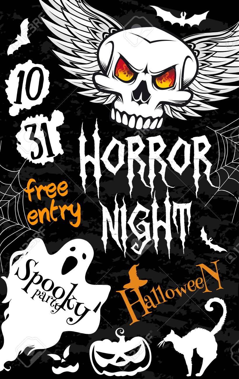 Halloween Spooky Ghost Banner For Horror Night Party Template ...