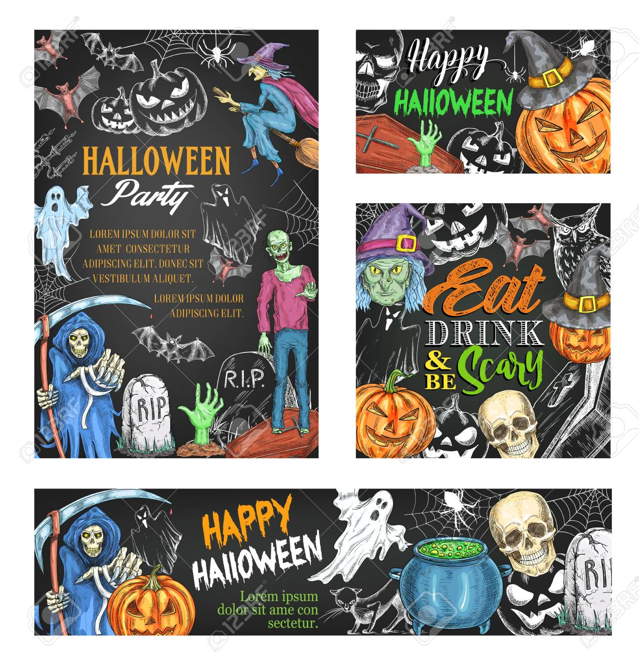 Awesome Happy Halloween Sketch Banner On Chalkboard. Scary Ghost And Halloween  Pumpkin In Witch Hat,