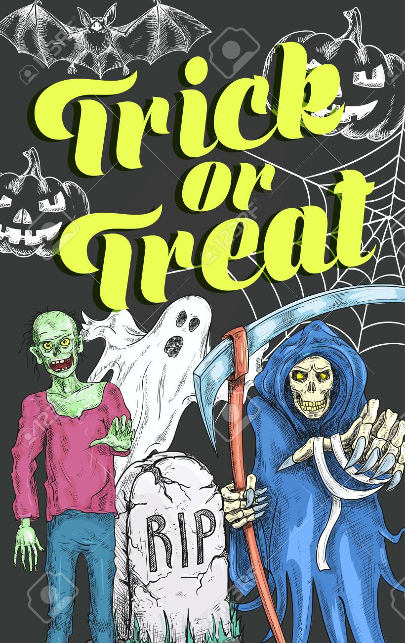 halloween trick or treat spooky monsters sketch poster design template for party invitation vector zombie