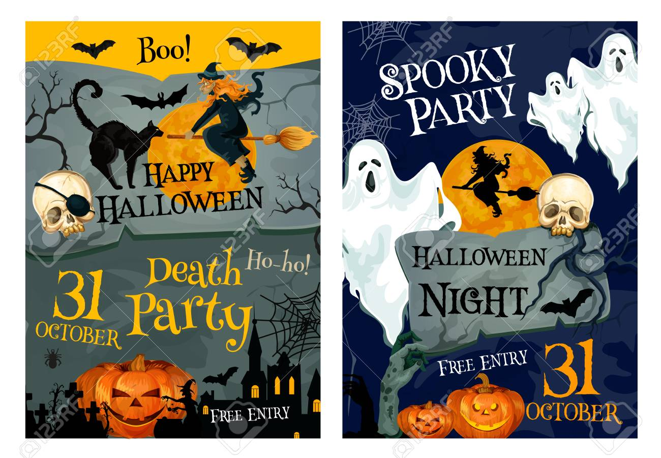 Happy Halloween Holiday Poster Of Spooky Night Party Invitation. Ghost, Bat  And Pumpkin Lantern