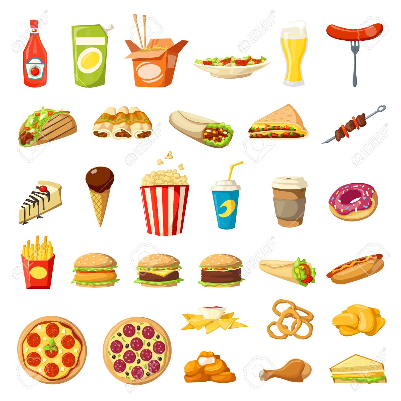Vector Fast food icons isolated burgers sandwiches - 87339471