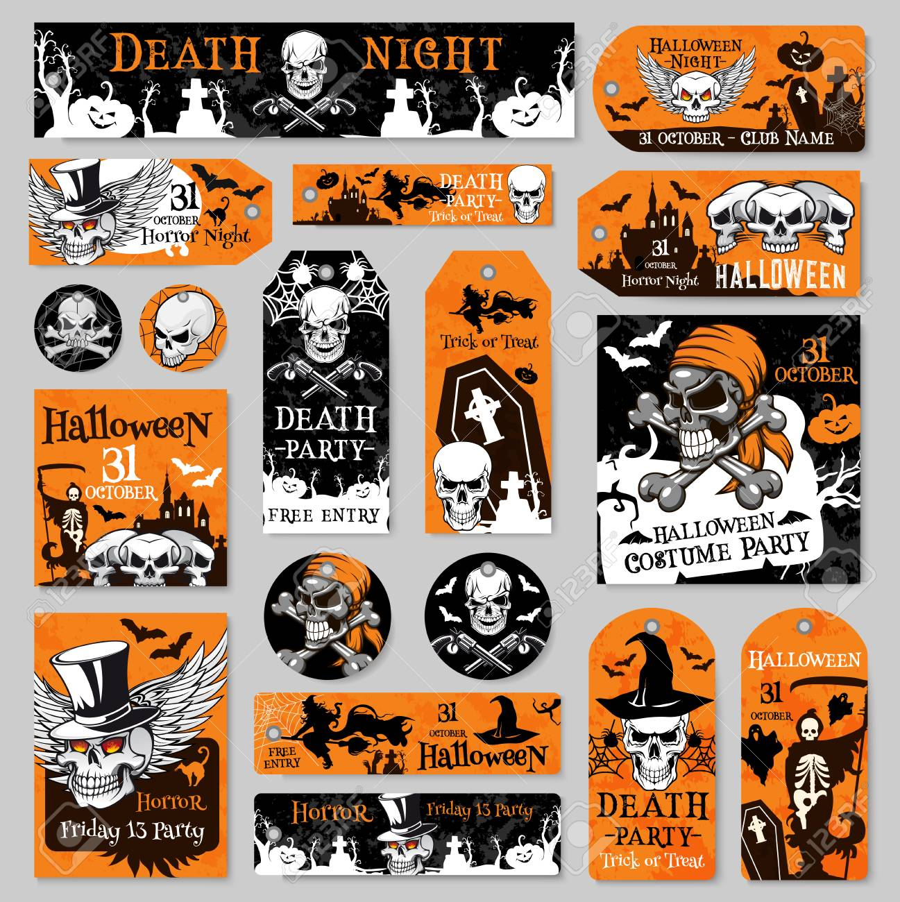 halloween tag and label fot holiday party design royalty free