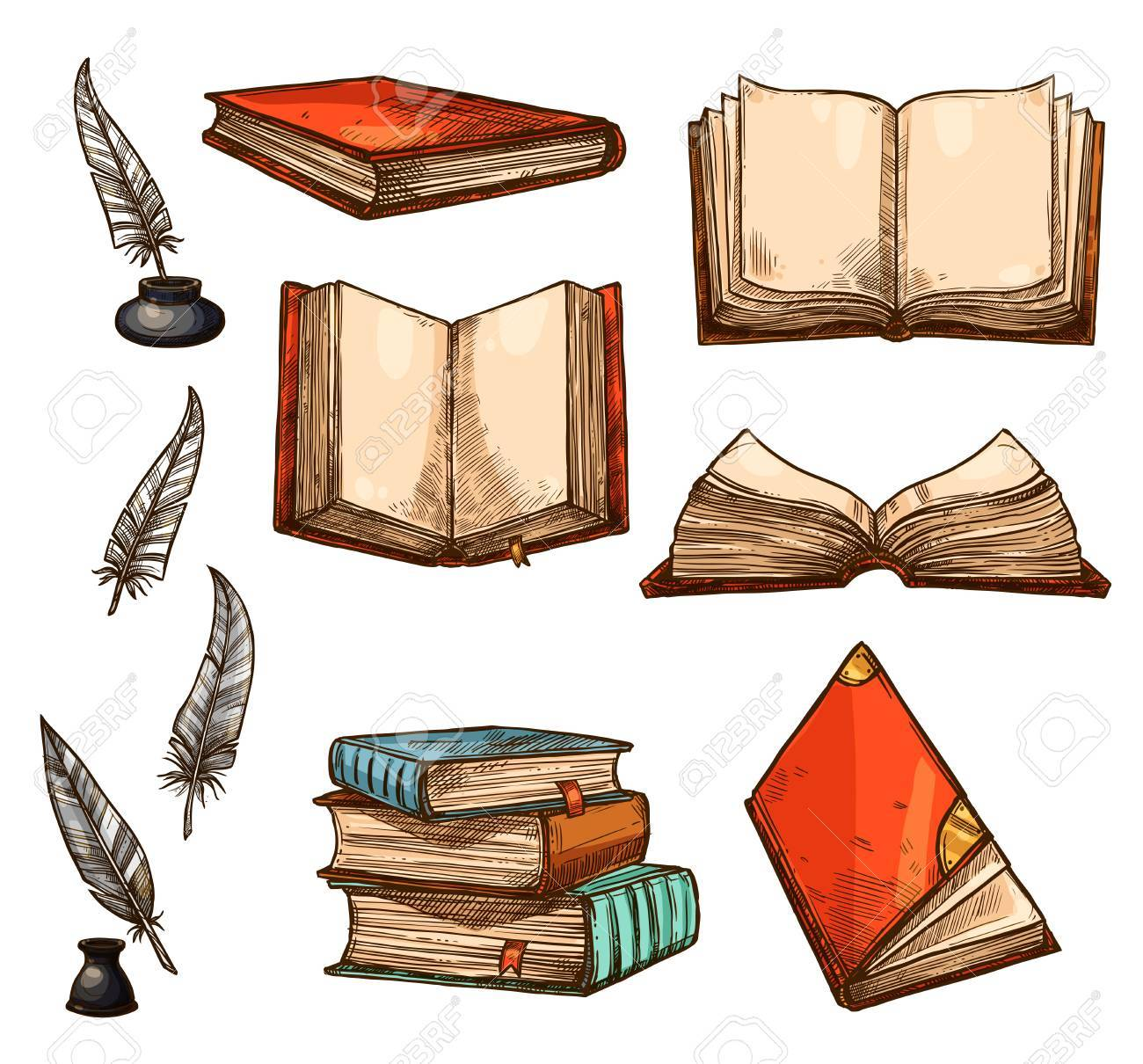 Vector icons of old books and manuscripts sketch - 87271213