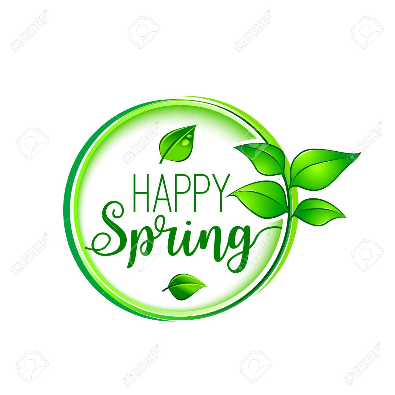 Green Leaf Happy Spring Blooming Vector Icon Royalty Free Cliparts ...
