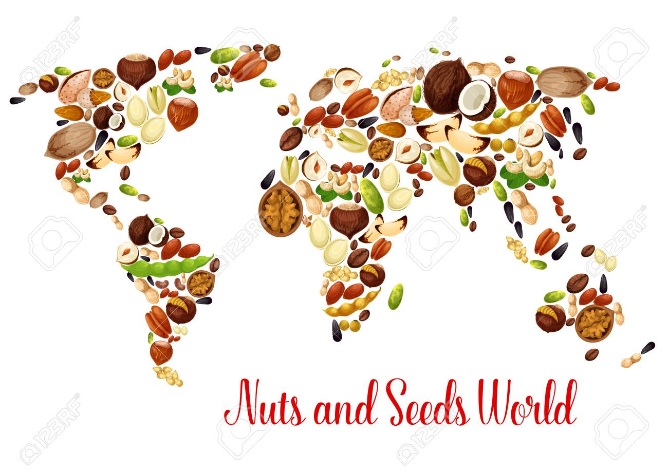 World map of nuts seed and bean food design royalty free cliparts vector world map of nuts seed and bean food design gumiabroncs Choice Image
