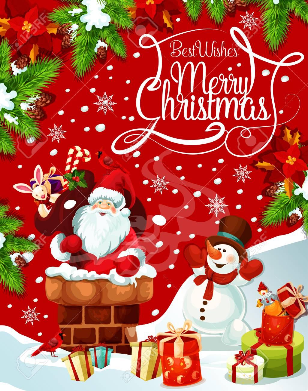 Frohe Weihnachten Santa Geschenke Baum Vektor Gruß Lizenzfrei ...