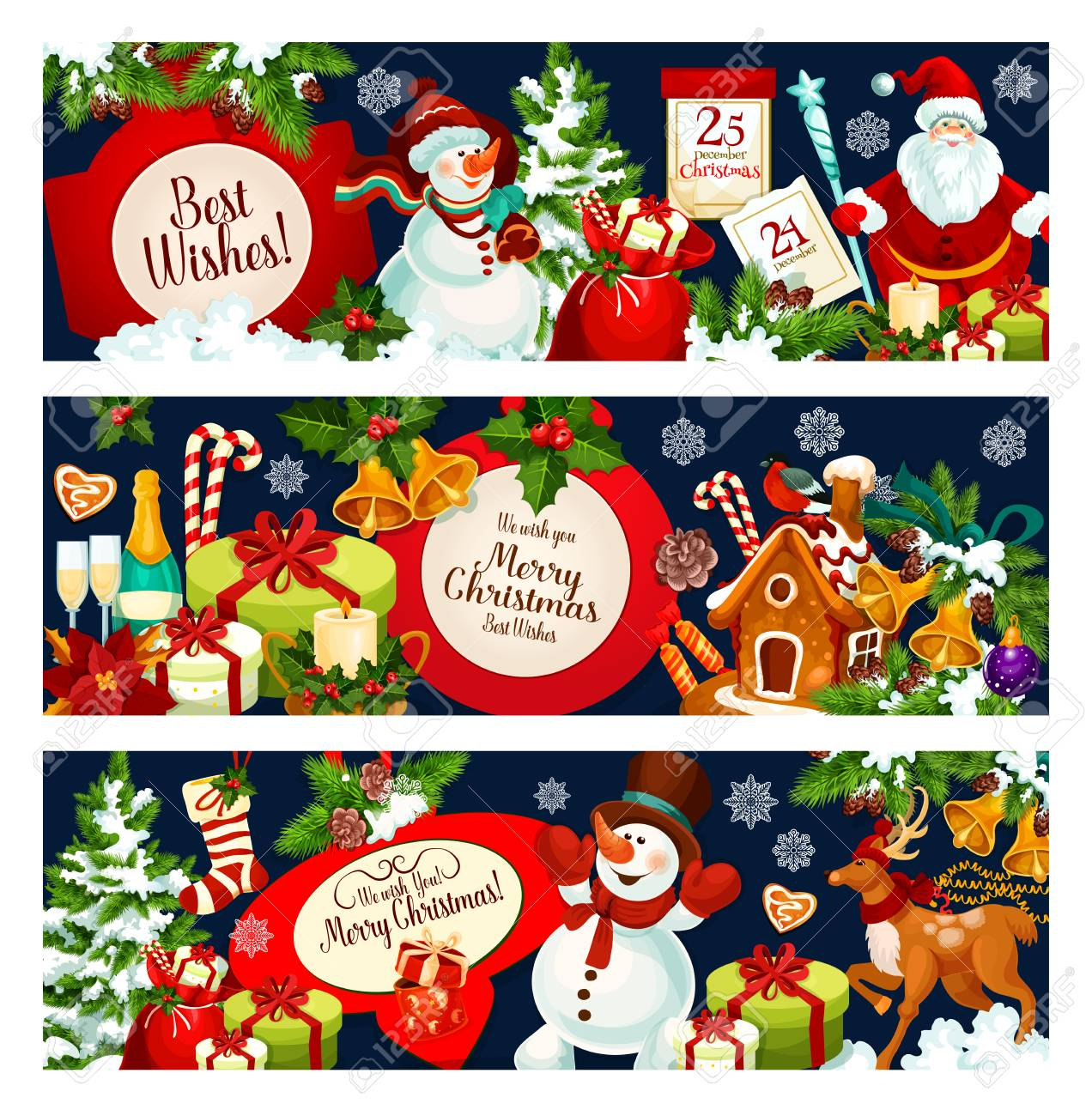 Merry Christmas Greetings And Best Wishes Banners For Winter