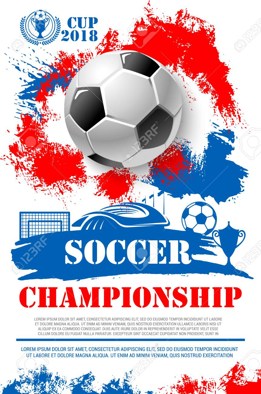 Soccer championship 2018 cup poster of football ball, goal gates at arena stadium and winner golden goblet award. Vector design of champion victory wreath in red, white and blue Russian flag colors - 88337346