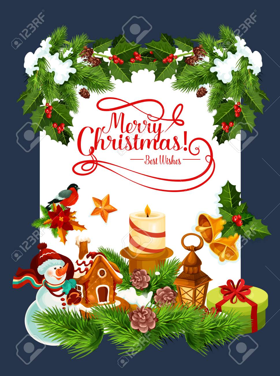Merry Christmas Wishes Greeting Cards.Merry Christmas Wishes Greeting Card Of Winter Holiday Decoration