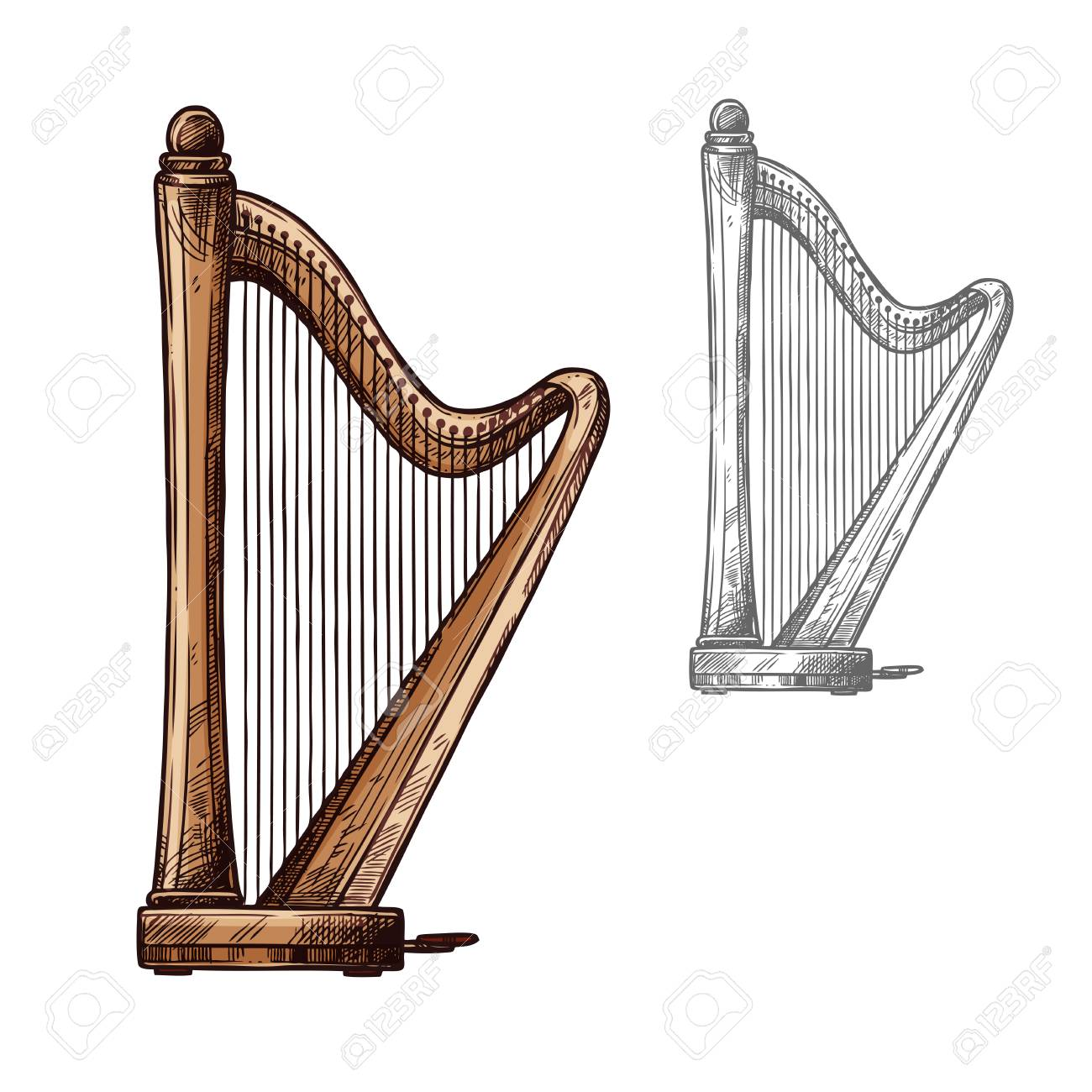 Harp string musical instrument  Vector sketch symbol of classic