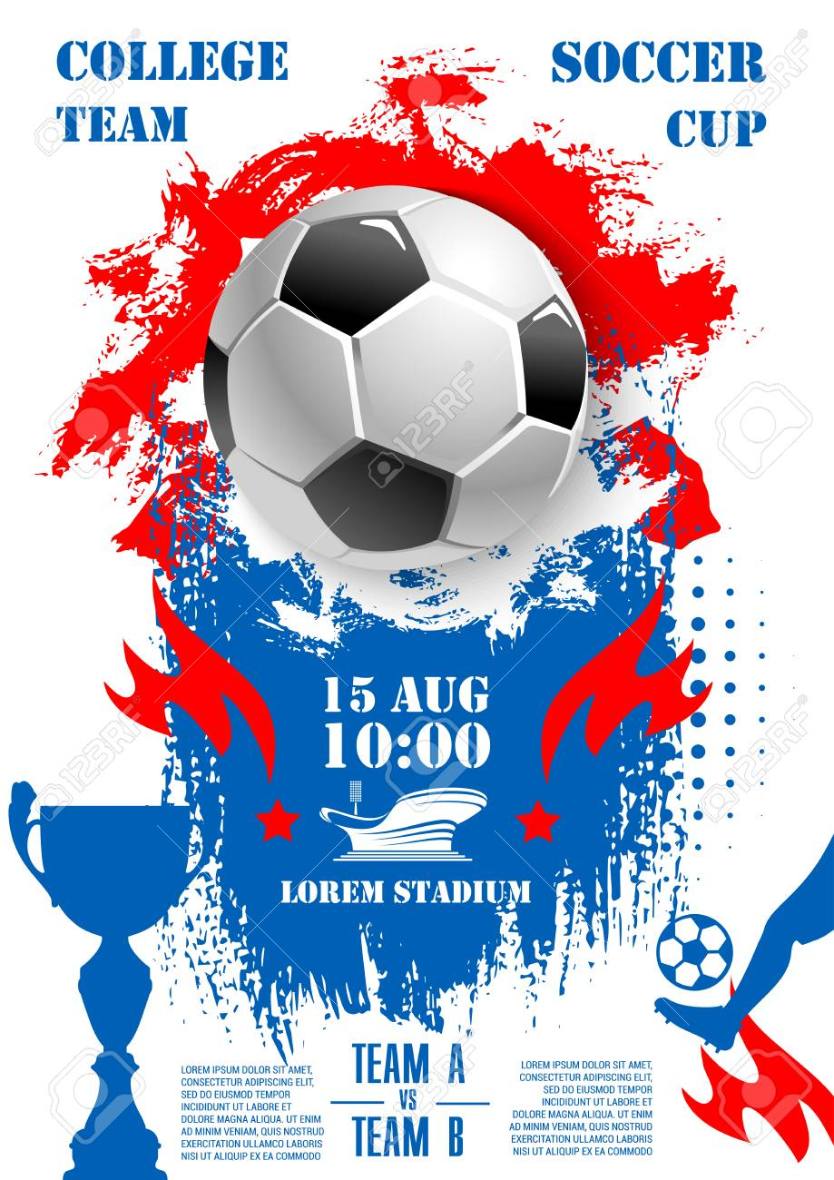 Soccer Championship 2018 Cup Poster Template Vector Design Of Football Ball Goal Gates At