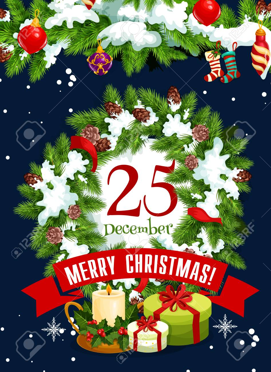 merry christmas greeting card for 25 december winter holiday