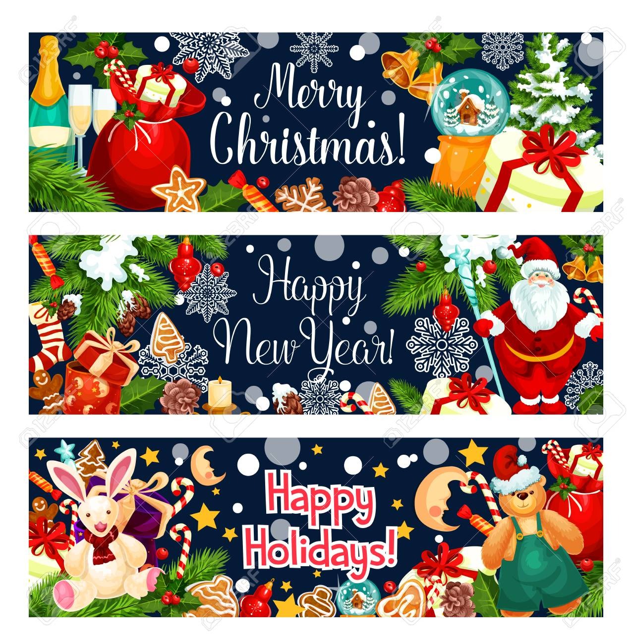 Merry Christmas, Happy New Year Wish For Winter Holiday Greeting ...