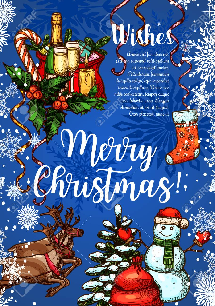 Christmas Greeting Cards Design.Merry Christmas Wishes For Winter Holidays Greeting Card Sketch