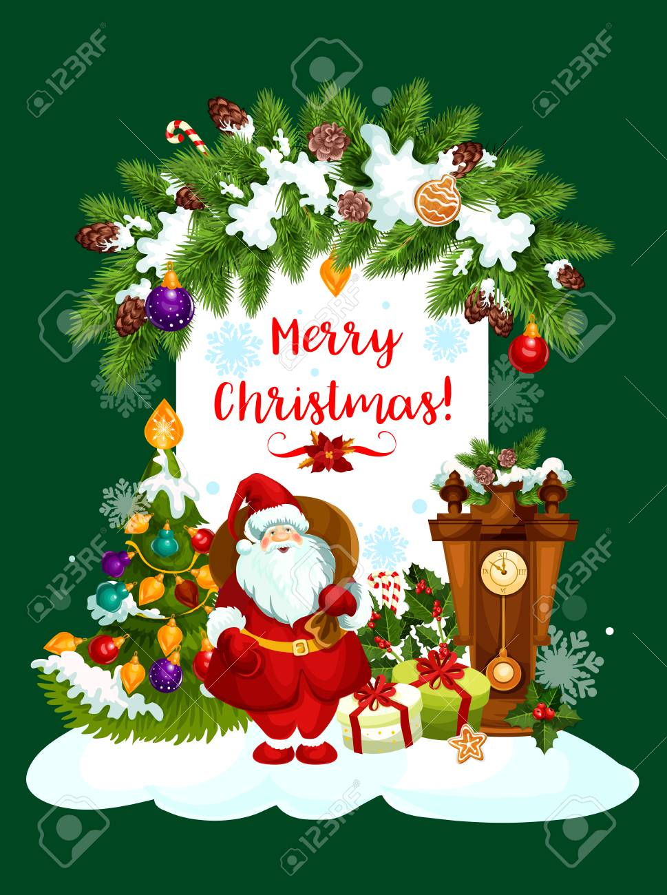 Christmas Greeting Images.Merry Christmas Greeting Card Design Of Santa Gifts And Christmas