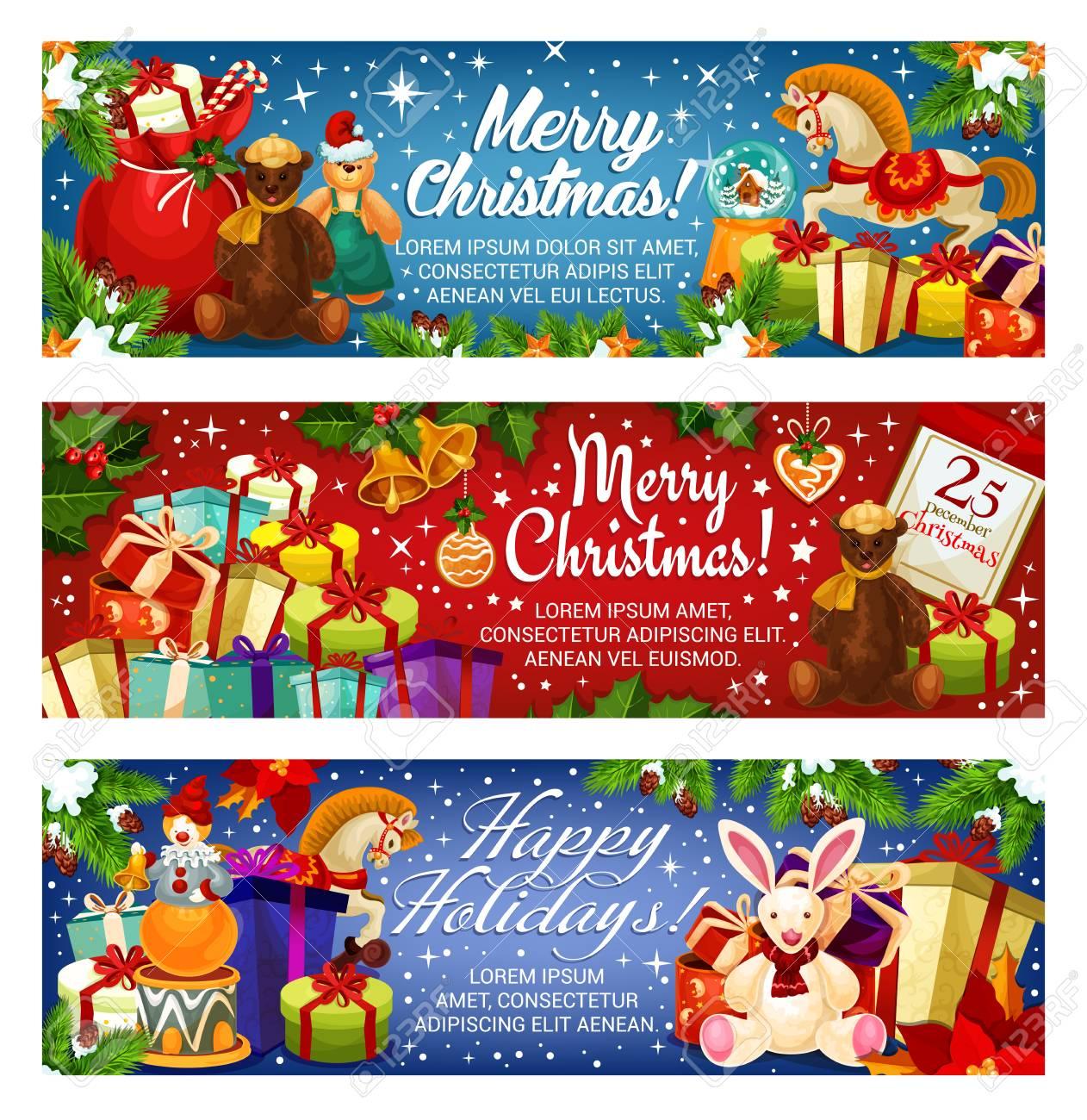 Christmas Banners.Merry Christmas Banners Design For Seasonal Greetings And Holiday