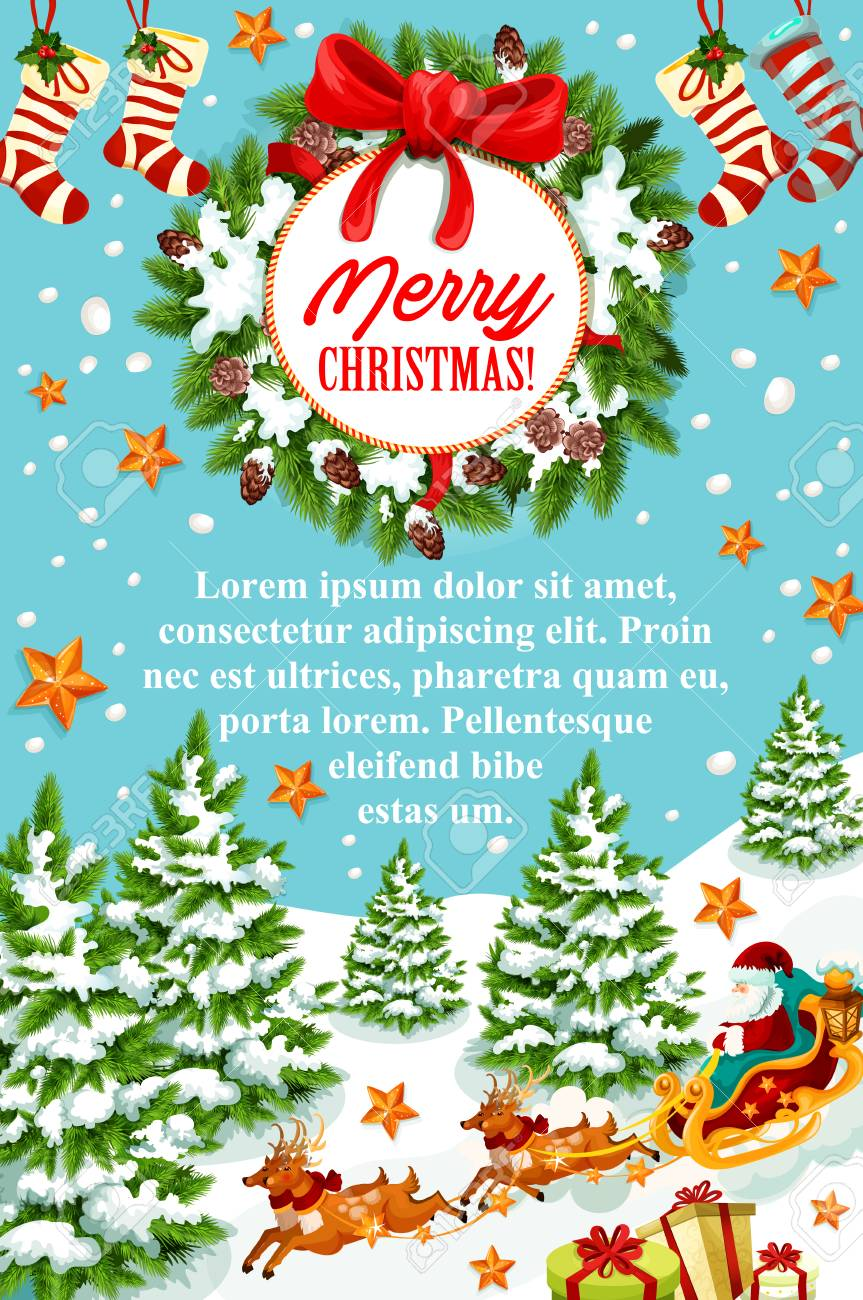 Merry Christmas greeting banner of Santa Claus sleigh with reindeer. Santa with gift bag and present box in sleigh festive poster, decorated with Christmas wreath, ribbon bow, snowflake, star and sock - 88461672