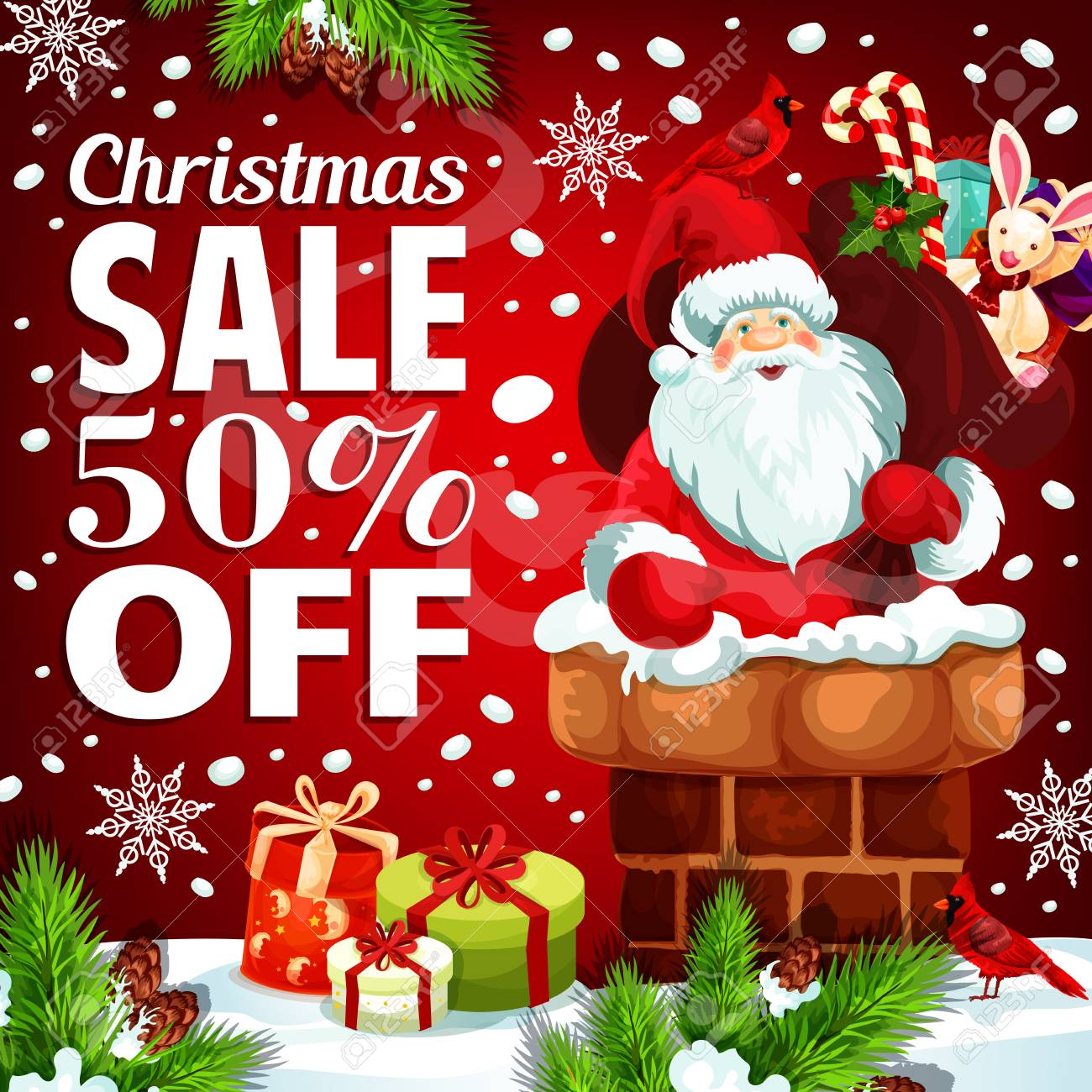 Christmas Sale Poster For Winter Holiday Gift Shop Discount Offer ...