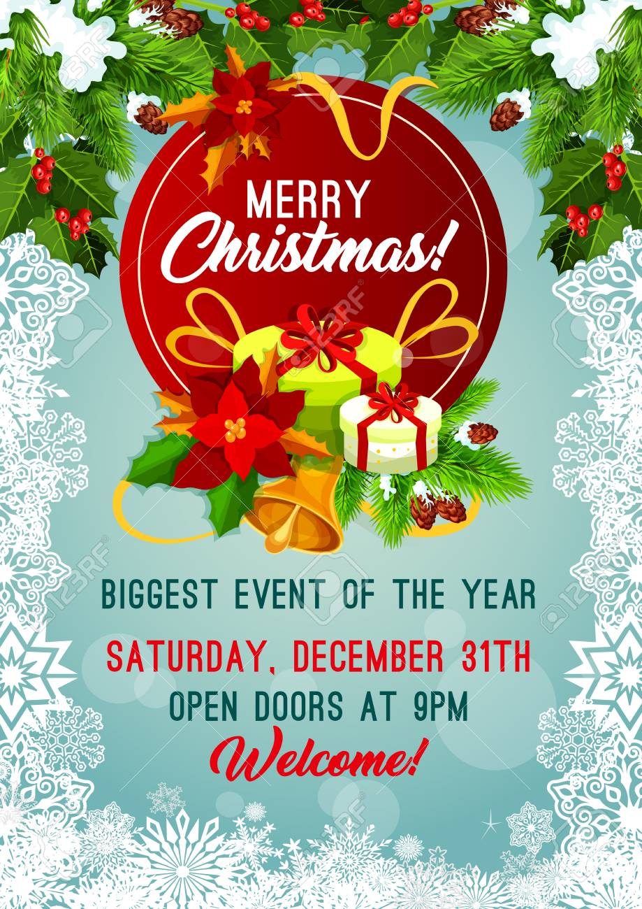 Christmas Invitation.Merry Christmas Party Invitation Poster Or Greeting Card For