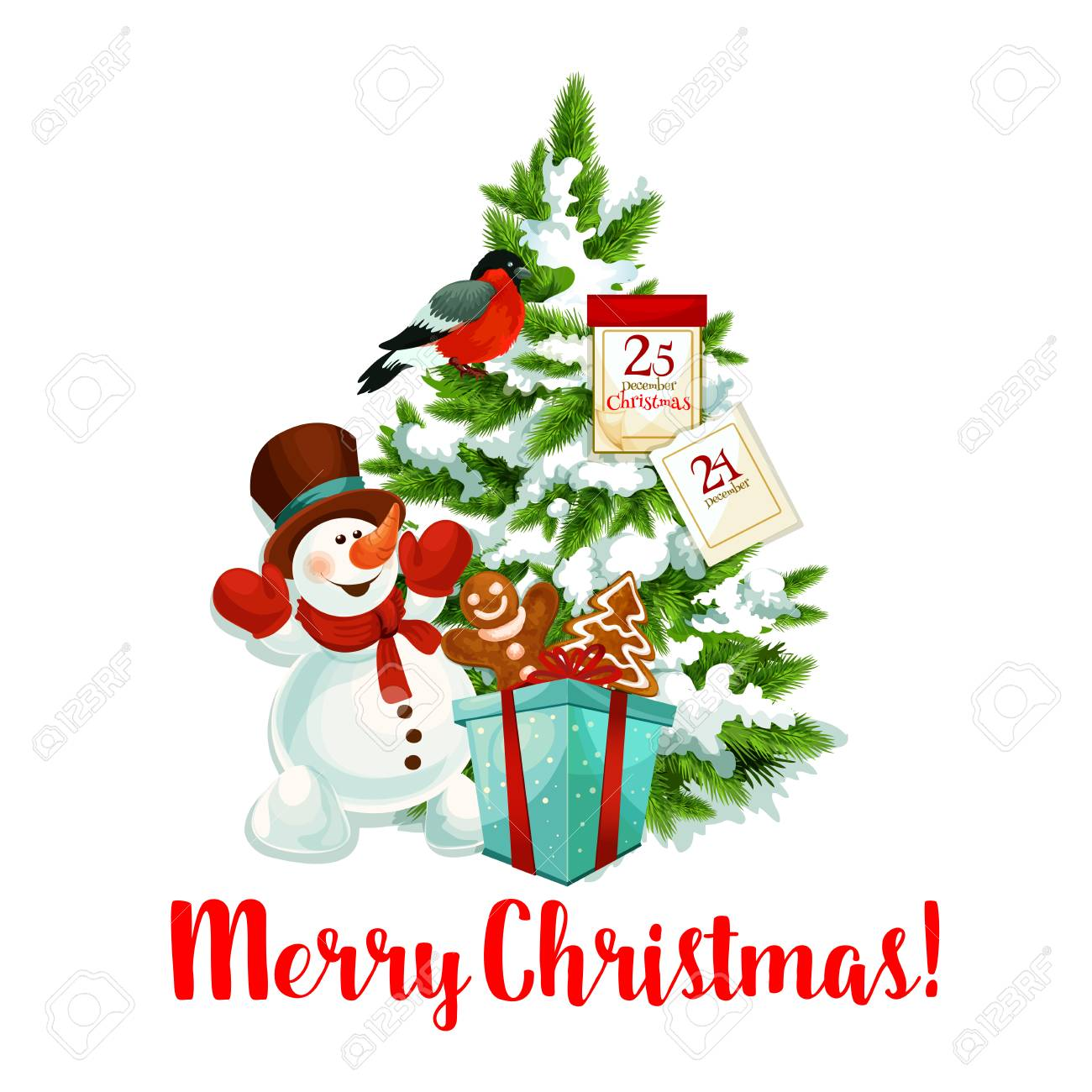 Christmas Icon.Merry Christmas Icon Of Snowman And Santa Gifts Under Christmas