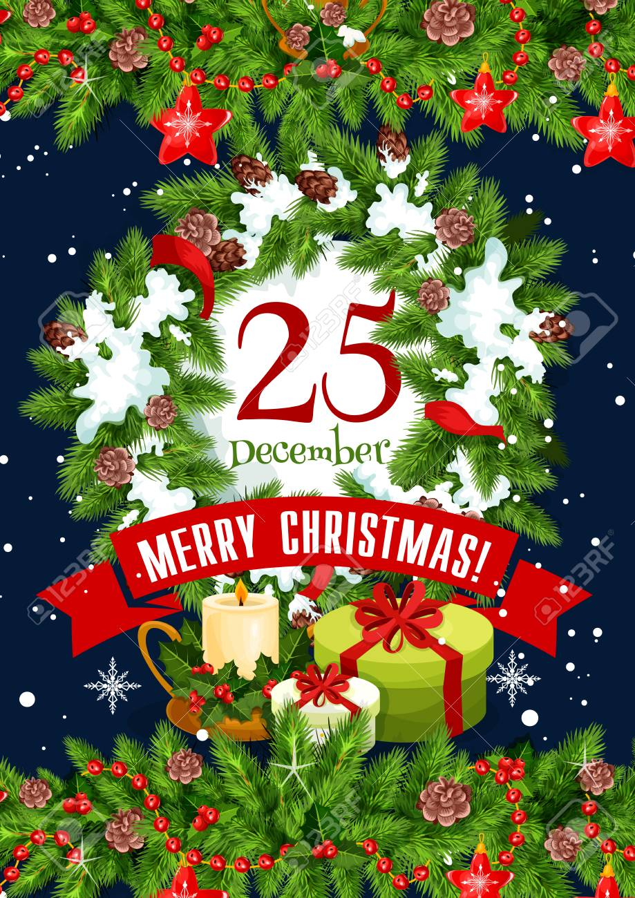 Merry Christmas Greeting Card Design Of 25 December Calendar
