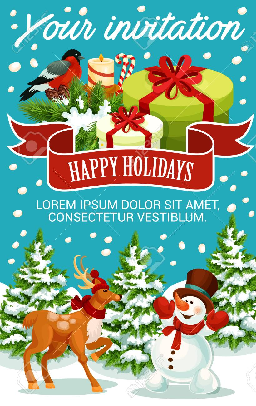 Christmas And New Year Party Invitation Template Xmas Gift - Party invitation template: new year party invitation template