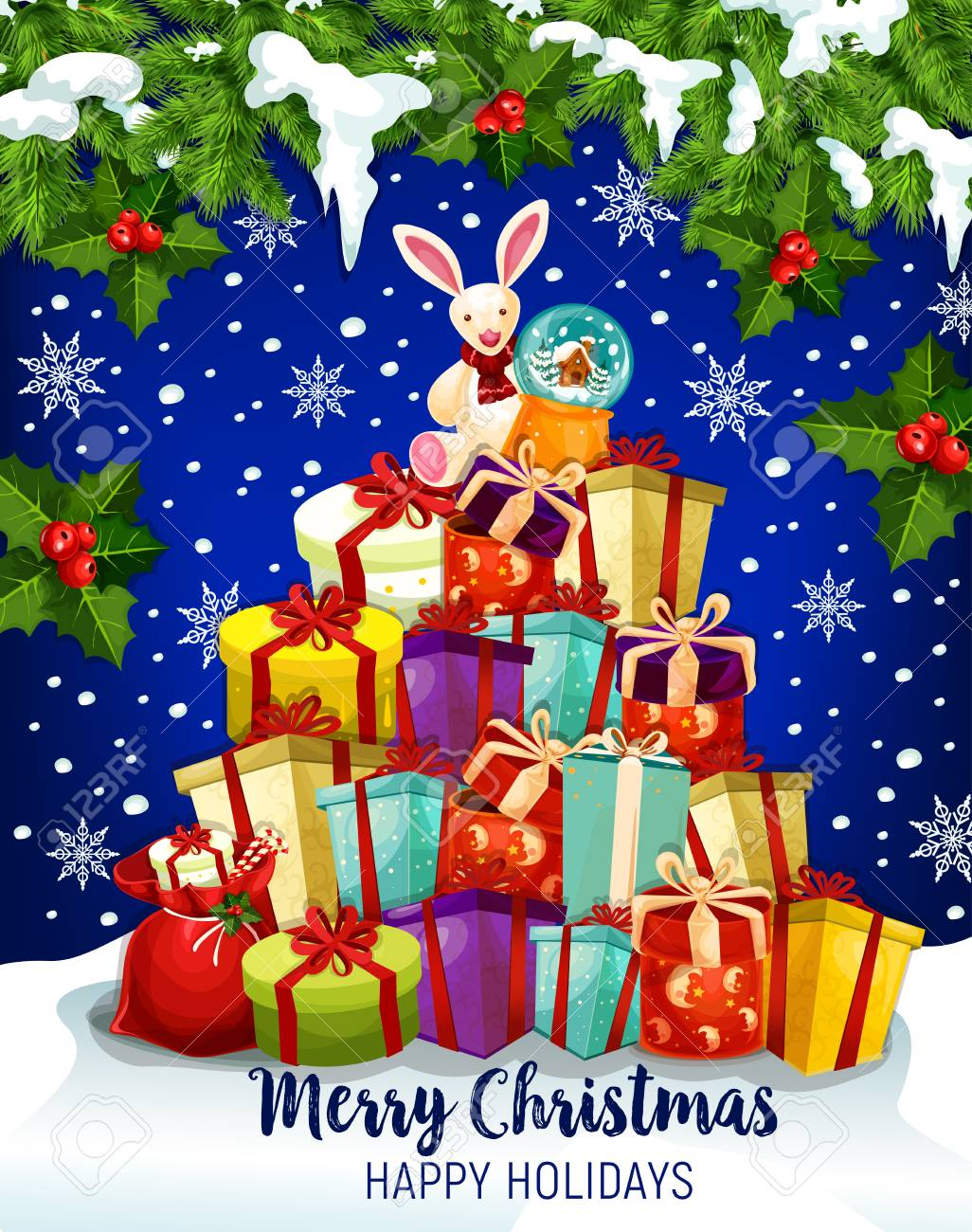 new year themes design christmas gift greeting card of winter holidays celebration pile of present boxes with ribbon and