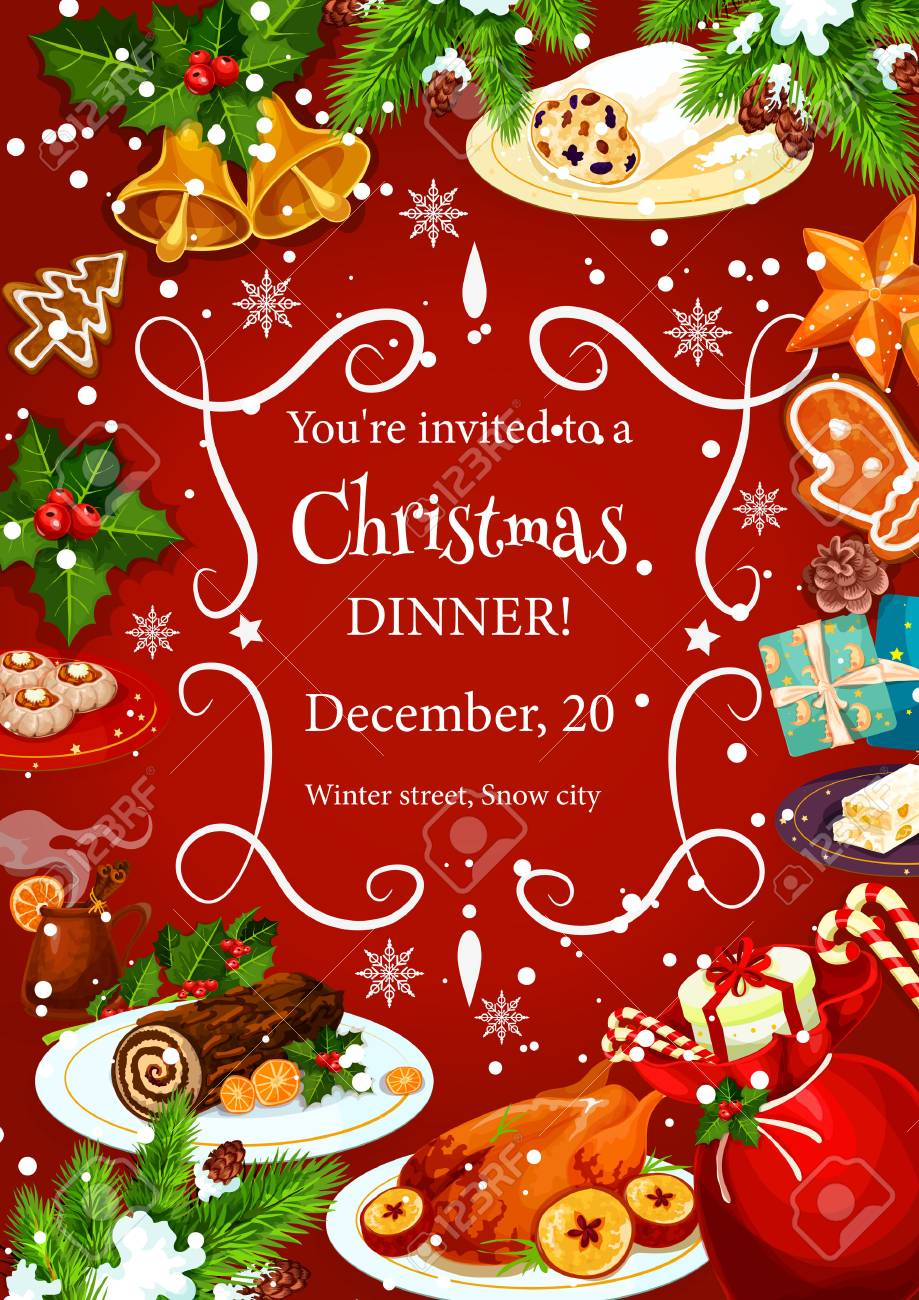 Christmas Holiday Dinner Invitation Poster Template With Frame