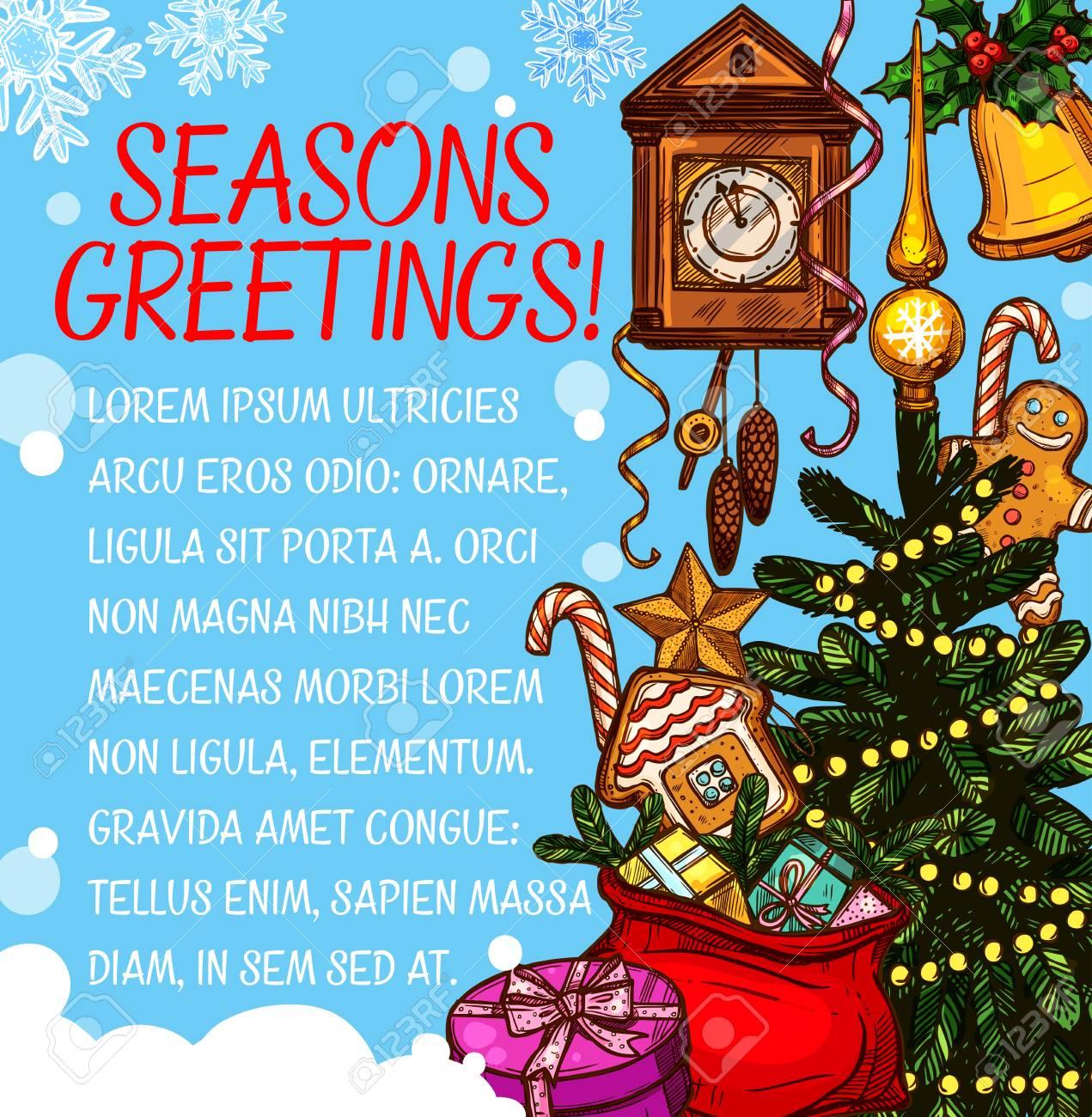 Weihnachtsjahreszeit Wunsch Vektor Skizze Grußkarte Lizenzfrei ...