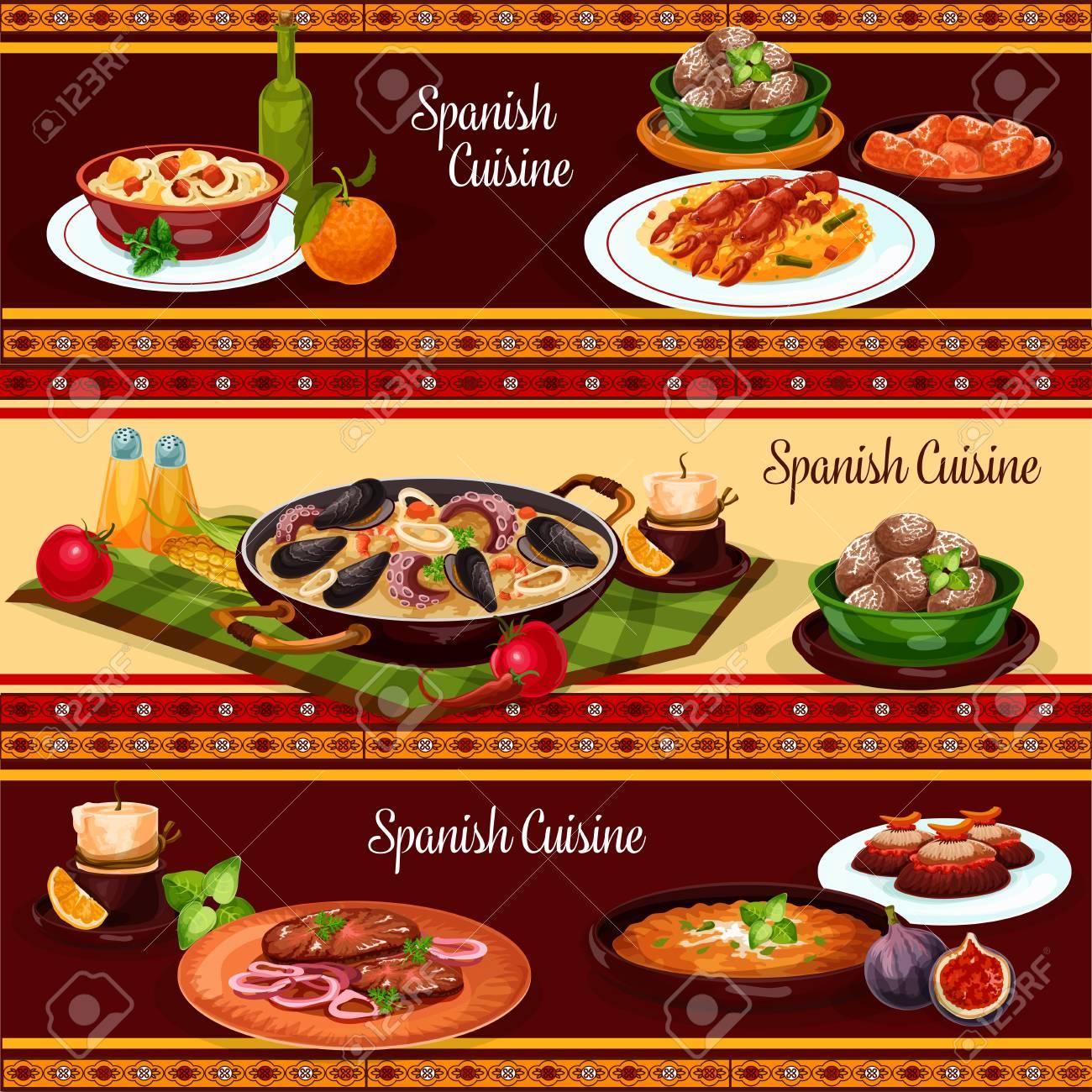 spanish food dinner, mediterranean cuisine restaurant menu banner