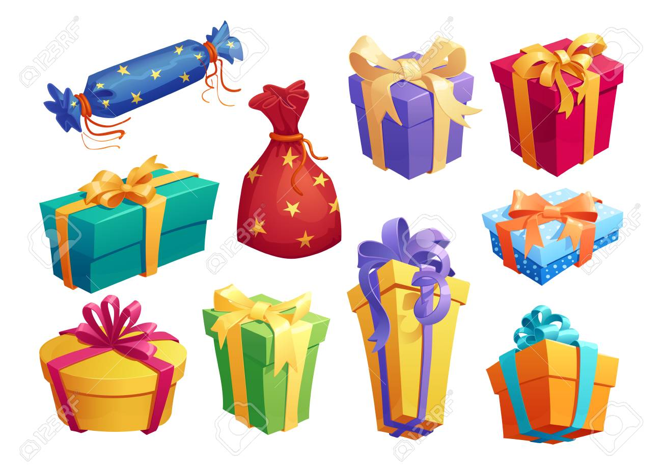 Gift box icon of present packaging with ribbon bow - 90246630