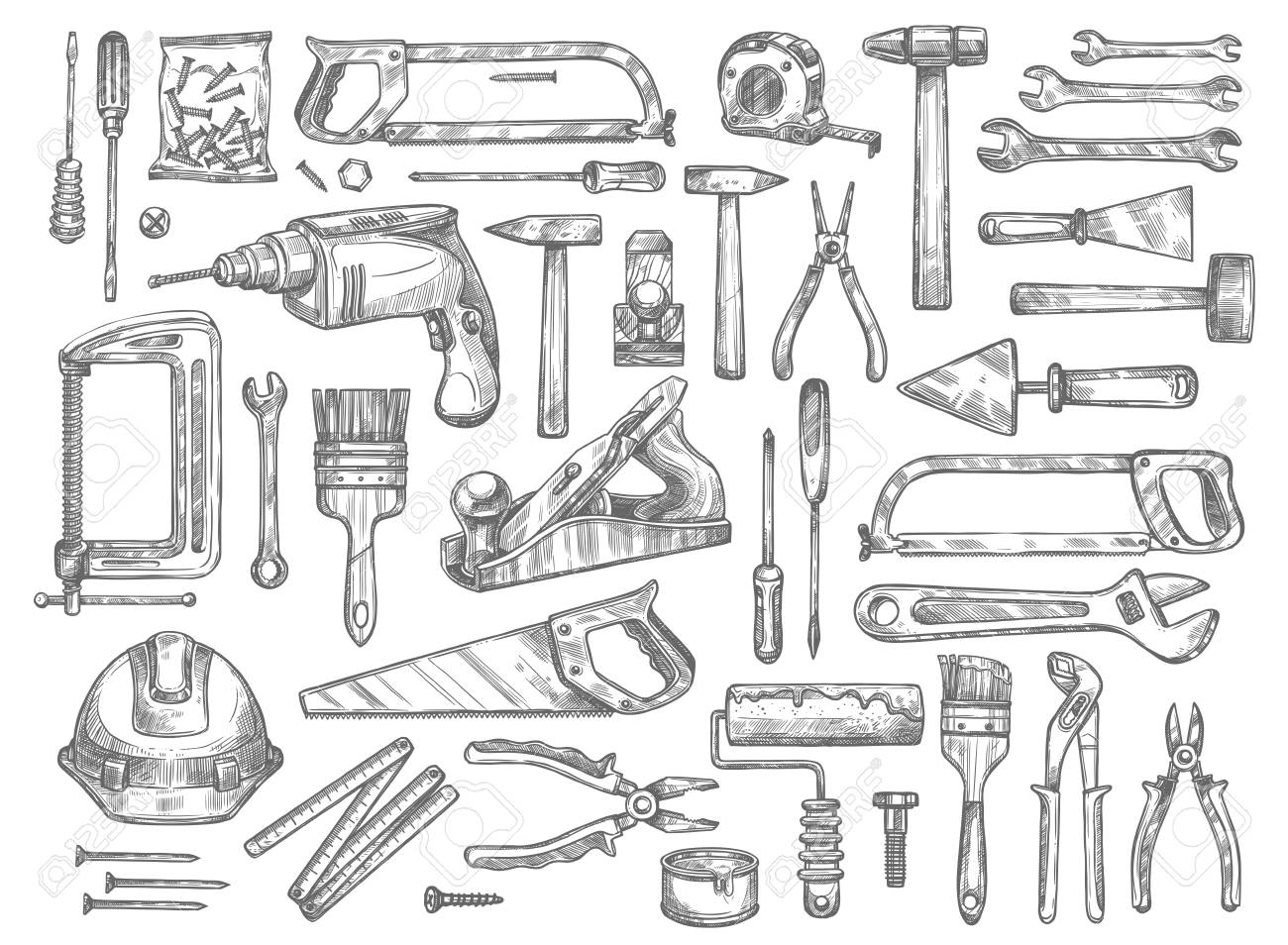Vector work tools sketch icons for house repair. - 90587350