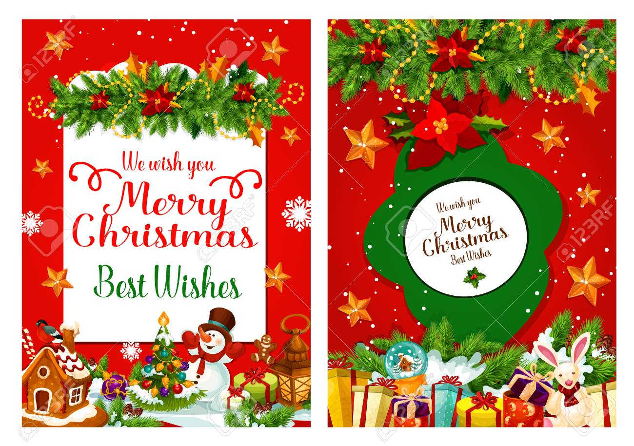 Christmas Wishes Card.Merry Christmas Wishes Greeting Card For Happy Holidays Of Christmas