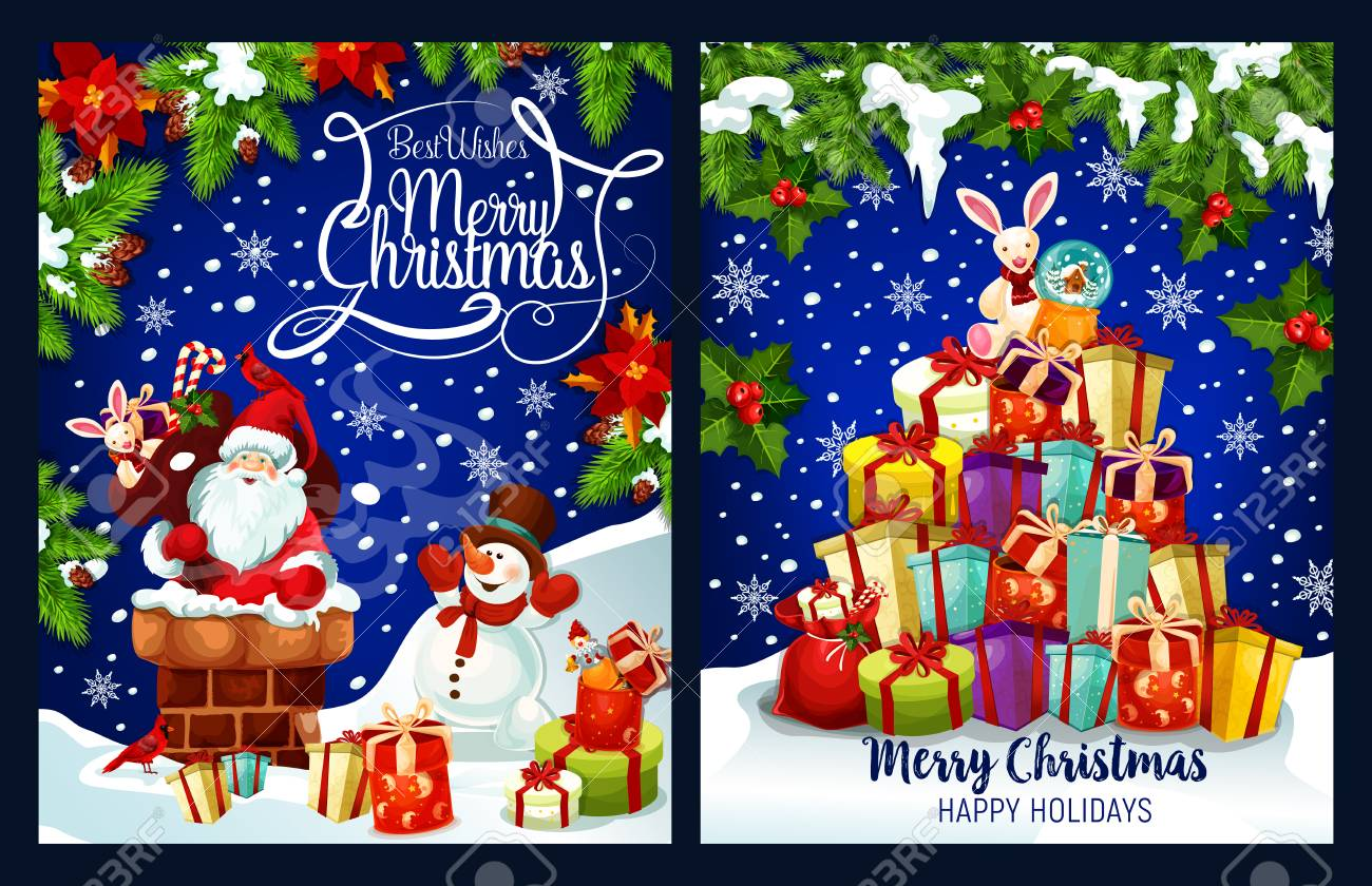 Merry Christmas Greeting Card Design Of Santa In Chimney And ...