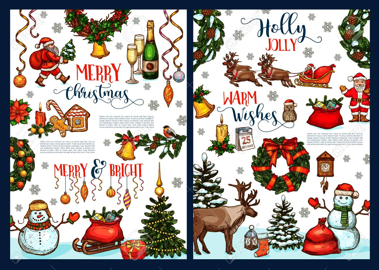 Merry Christmas Greeting Card Sketch Design Of Xmas Wishes For ...